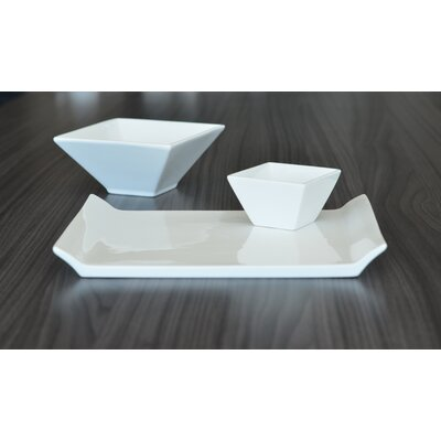 Tannex White Tie Porcelain Rectangular Serving Tray with Handles