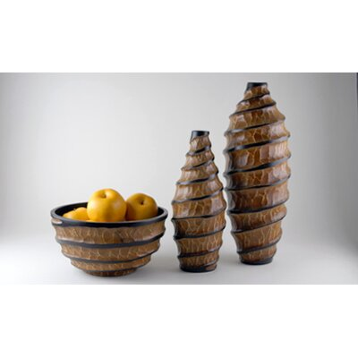 Modern Day Accents 3 Piece Vortex Vase and Bowl Set