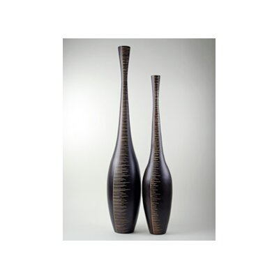 Modern Day Accents Wood Tall Etched Vase (Set of 2)