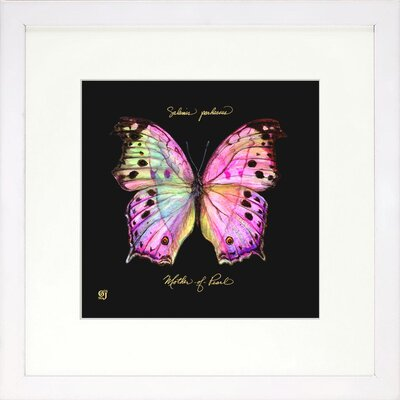 Vibrant Living Striking Butterfly Framed Graphic Art in Pink