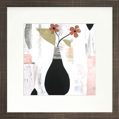 Modern Living Rose Colored Floral II Fine Framed Graphic Art in Red