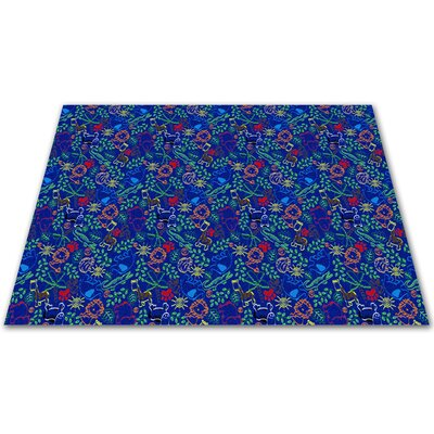KidCarpet.com Animal Doodles Multicolor on Blue Kids Rug