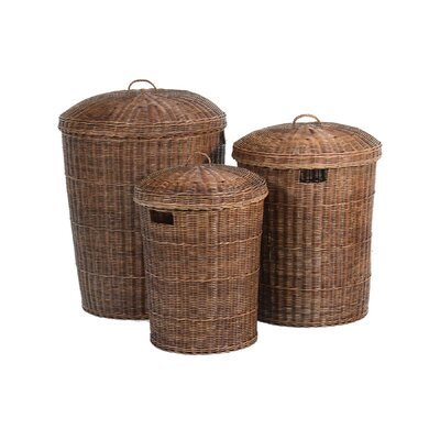 Ibolili 3 Piece Rattan Laundry Carrier