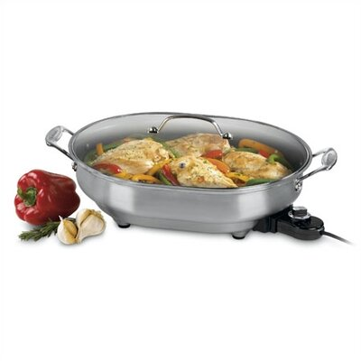 Brushed Stainless Appliances Electric Skillet with Lid