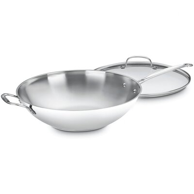 "Cuisinart Chef's Classic Stainless Steel 14"" Stir Fry Wok with Lid"
