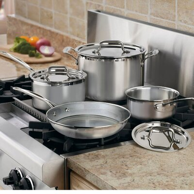 Cuisinart MultiClad Pro Triple-Ply Stainless Steel 7-Piece Cookware Set