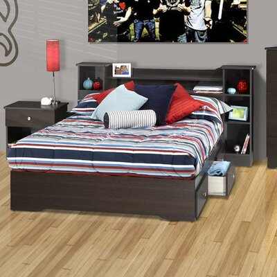 Nexera Pocono Bed with Bookcase Headboard in Espresso Laminate