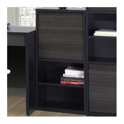 Nexera Sereni-T One Door Bookcase in Black Satin/Ebony