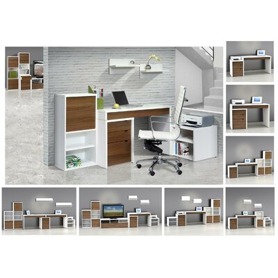 Nexera Liber-T Three Drawer File Cabinet in White/Walnut