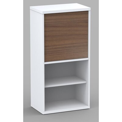 Nexera Liber-T One Door Bookcase in White/Walnut