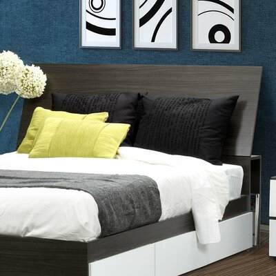 Nexera Allure Storage Bed Base with Headboard in White and Ebony ...