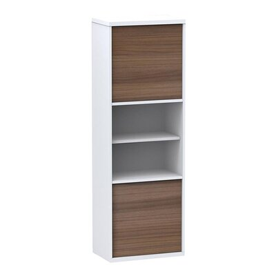 Nexera Liber-T Two Door Bookcase in White/Walnut
