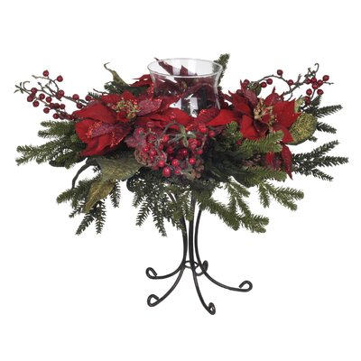 House of Silk Flowers Inc. Artificial Red Poinsettia / Berry / Pine Single Candle Holder