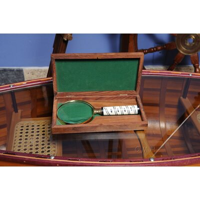 "Old Modern Handicrafts 4"" Magnifier in Wood Box"