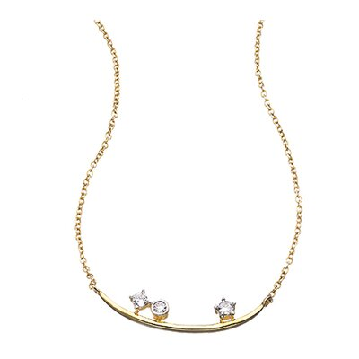 uno6eight Camila Yellow Gold Over Sterling Silver Cubic Zirconia Half Moon Pendant Necklace