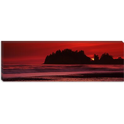 iCanvasArt Silhouette of Seastacks at Sunset, Second Beach, Washington State Canvas Wall Art