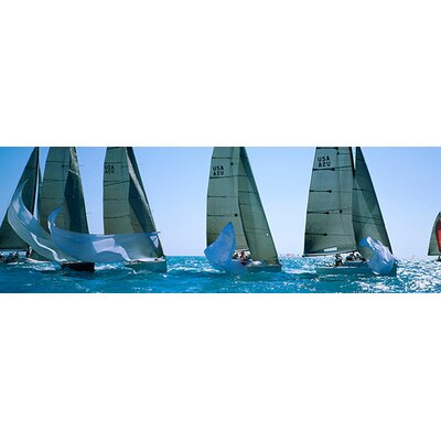 iCanvasArt Panoramic Sailboat Racing in the Ocean Key West, Florida Photographic Print on Canvas