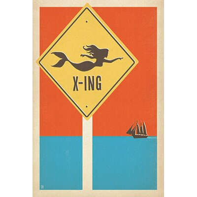 iCanvasArt 'Mermaid Crossing' by Anderson Design Group Vintage Advertisment on Canvas