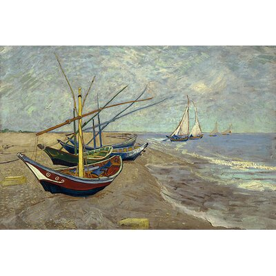 iCanvasArt Fishing Boats on the Beach at Les Saintes Maries de la Mer by Vincent van Gogh Painting Print on Canvas
