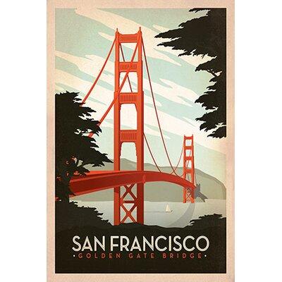 iCanvasArt Golden Gate Bridge - San Francisco, California by Anderson Design Group Vintage Advertisement on Canvas