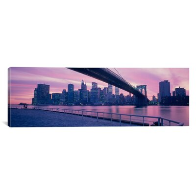 iCanvasArt Panoramic Brooklyn Bridge New York Photographic Print on Canvas