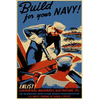 iCanvasArt Build for Your Navy! Recruiting Vintage Advertisement on Canvas