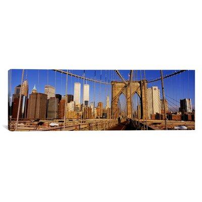 iCanvasArt Panoramic Brooklyn Bridge Manhattan New York Photographic Print on Canvas