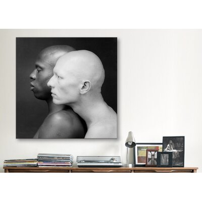 iCanvasArt Black and White Men Photographic Canvas Wall Art