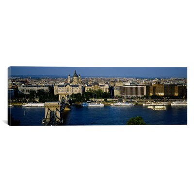 iCanvasArt Panoramic Buildings at the Waterfront, Chain Bridge, Danube River, Budapest, Hungary Photographic Print on Canvas