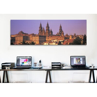 iCanvasArt Panoramic Cathedral in a Cityscape, Santiago De Compostela, La Coruna, Galicia, Spain Photographic Print on Canvas
