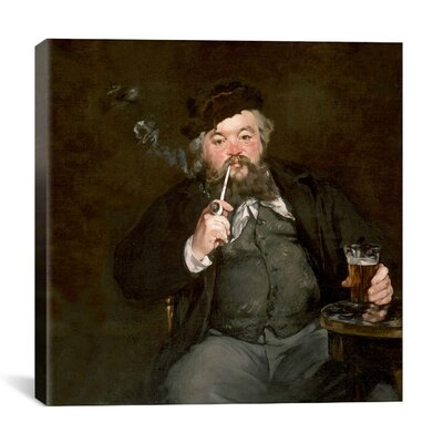"iCanvasArt ""A Good Glass of Beer (Le Bon Bock)"" Canvas Wall Art by Edouard Manet"