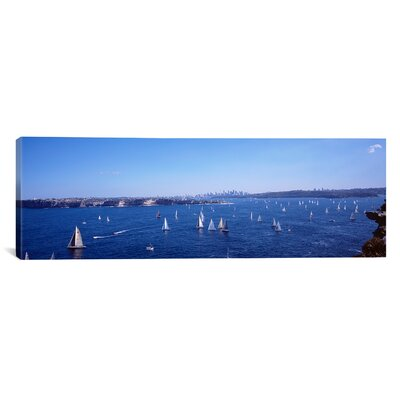 iCanvasArt Panoramic Yachts in the Bay, Sydney Harbor, Sydney, New South Wales, Australia Photographic Print on Canvas