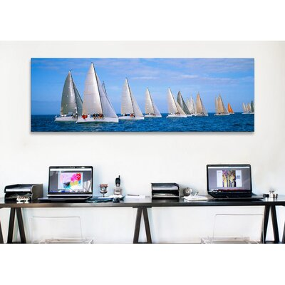 iCanvasArt Panoramic Yachts in the Ocean Key West, Florida Photographic Print on Canvas