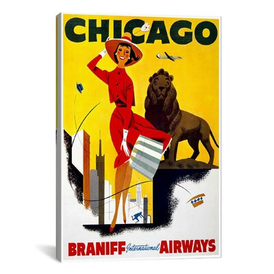 iCanvasArt Chicago Braniff Airways Vintage Advertisement on Canvas