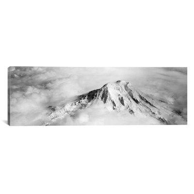 iCanvasArt Panoramic Aerial View of a Snowcapped Mountain, Mt Rainier, Mt Rainier National Park, Washington State Photographic Print on Canvas