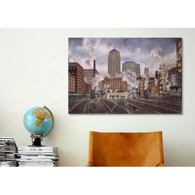 iCanvasArt '20Th Century Ltd, Leaving Chicago' by Stanton Manolakas Painting Print on Canvas