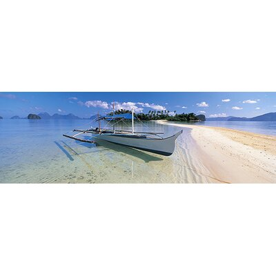iCanvasArt Panoramic Fishing Boat Moored on the Beach, Palawan, Philippines Photographic Print on Canvas
