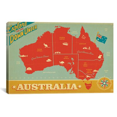 iCanvasArt 'Explore Down Under, Australia' by Anderson Design Group Vintage Advertisement on Canvas