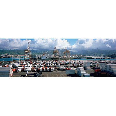 iCanvasArt Panoramic Containers and Cranes at a Harbor, Honolulu Harbor, Hawaii Photographic Print on Canvas