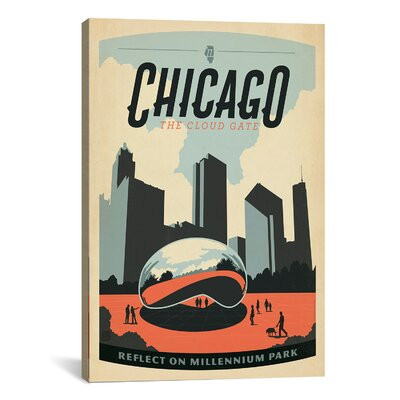 iCanvasArt 'Reflecton Millennium Park - Chicago, Illinois' by Anderson Design Group Vintage Advertisement on Canvas