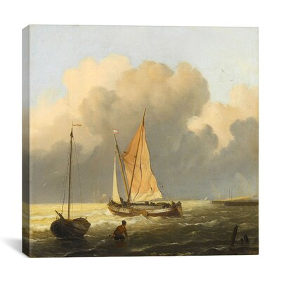 "iCanvasArt ""Coastal Scene with a Tjalk"" Canvas Wall Art by Ludolf Backhuyzen"