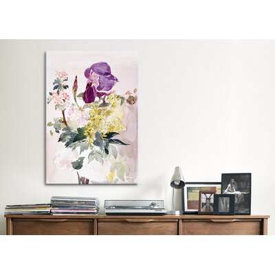 iCanvasArt 'Flower Piece with Iris, Laburnum and Geranium' by Edouard Manet Painting Print on Canvas