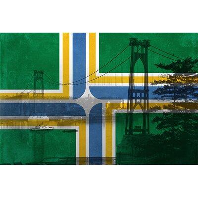 iCanvasArt Portland Flag, St. Johns Bridge with Lomo Film Grunge Graphic Art on Canvas