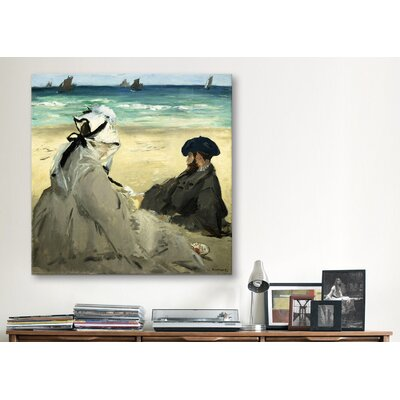 """iCanvasArt """"On the Beach"""" Canvas Wall Art by Edouard Manet"""