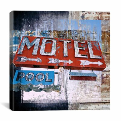 """iCanvasArt """"Motel Pool"""" by Luz Graphics Vintage Advertisement on Canvas"""
