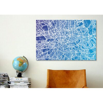 iCanvasArt 'London Street Map (Blue II)' by Michael Tompsett Graphic Art on Canvas