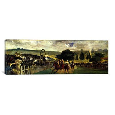 iCanvasArt Historical Fine 'Races at Longchamp' by Edouard Manet Painting Print on Canvas