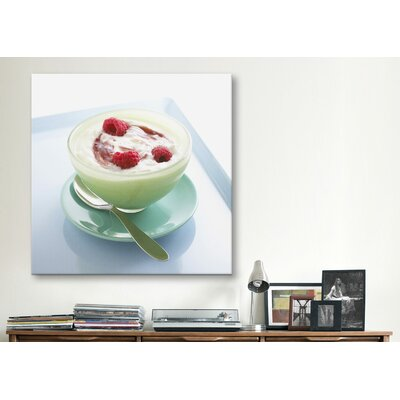 iCanvasArt Raspberry Yogurt Photographic Canvas Wall Art