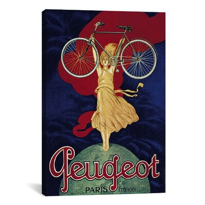 iCanvasArt Peugeot Bicycle Advertising Vintage Poster Canvas Print Wall Art