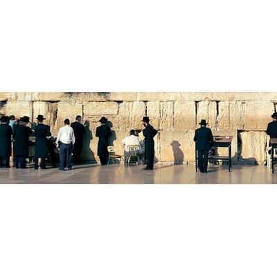 iCanvasArt Panoramic People Praying at Wailing Wall, Jerusalem, Israel Photographic Print on Canvas